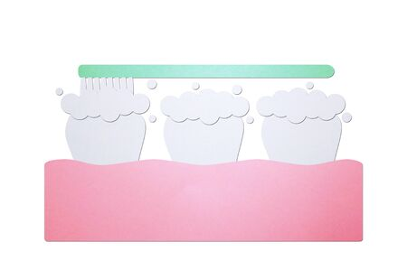 brushing teeth, toothbrush on tooth and gum - dental cartoon paper cut style cute character for design