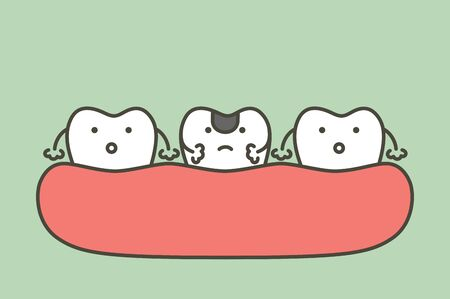 decay tooth or dental caries - teeth cartoon vector flat style cute character for design Фото со стока - 140610392