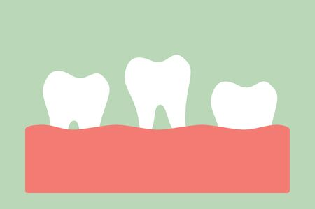 loose tooth, tooth is fall out of the gum - dental cartoon vector flat style cute character for design Фото со стока - 140589868