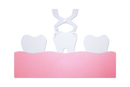 tooth extraction by dental tools to remove decay tooth - teeth cartoon paper cut style cute character for design Фото со стока