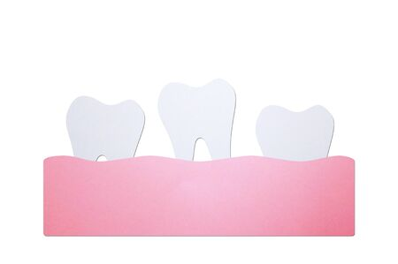 loose tooth or missing teeth, tooth is fall out of the gum - dental cartoon paper cut style cute character for design