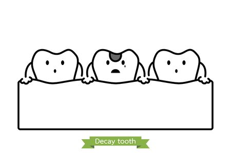 decay tooth or dental caries - teeth cartoon vector outline flat style cute character for design