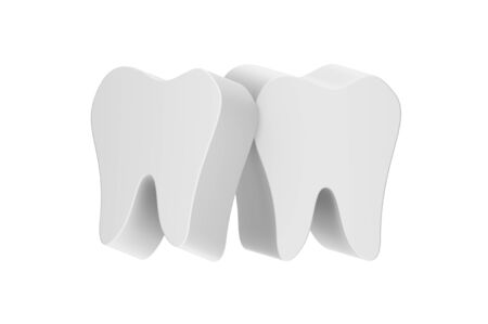 tooth lean together - dental cartoon 3d render flat style cute character for design Фото со стока - 141251805