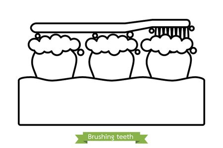 brushing teeth, toothbrush on tooth and gum - dental cartoon vector outline flat style cute character for design Иллюстрация