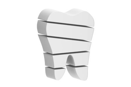 tooth is slice to small part and flying in the air - dental cartoon 3d render flat style cute character for design Фото со стока - 141417787