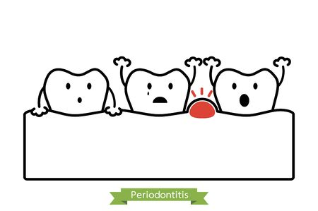 periodontitis or gum disease with swell ( gum and tooth is swollen because inflammation ), dental problem - teeth cartoon vector outline flat style cute character for design Standard-Bild - 141420669