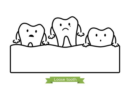 loose tooth, tooth is fall out of the gum - dental cartoon vector outline flat style cute character for design