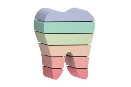 multi colors or rainbow tooth is slice to small part and flying in the air - dental cartoon 3d render flat style cute character for design