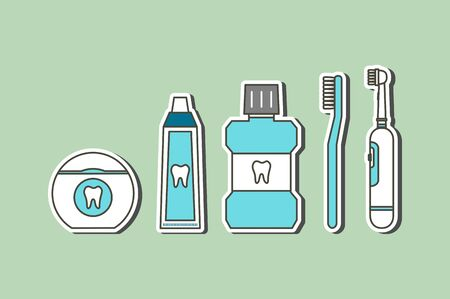 Good friend for tooth have toothbrush, electric toothbrush, toothpaste, floss and mouthwash (good for dental health care and hygiene) - teeth cartoon vector flat style cute character for design Иллюстрация