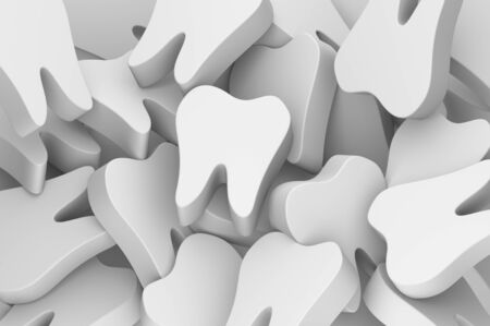 tooth stay on stack of teeth - dental cartoon 3d render flat style cute character for design Фото со стока - 143530257