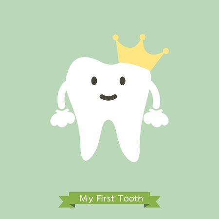 Baby first tooth, tooth is wearing golden crown - dental cartoon vector flat style cute character for design