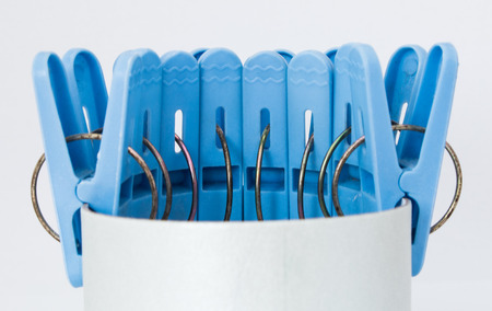 clothes clips: Blue Clips Stock Photo