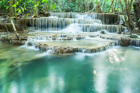 Deep forest waterfall at Erawan waterfall National Park Kanjanaburi Thailand Banco de Imagens