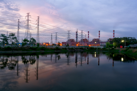 Twilight photo of power plant Banco de Imagens