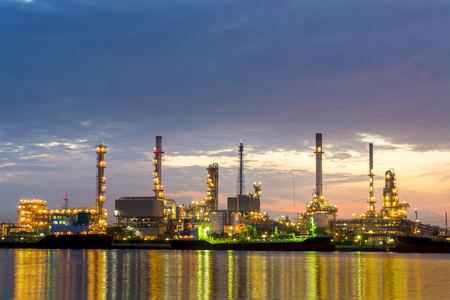 Oil refinery in morning