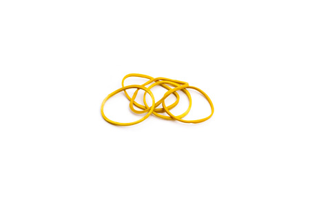 rubber band yellow color on white background