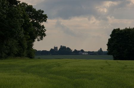 threatens: Stormy weather threatens a classic, rural,  English village