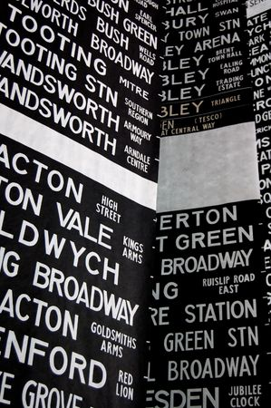 descriptor: London Destinations - tube and train destination blinds