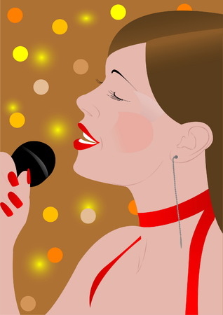 The woman sings in a microphone Vector