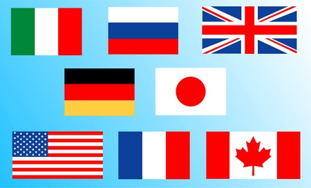 Flags of the countries of the Big 8 Vector