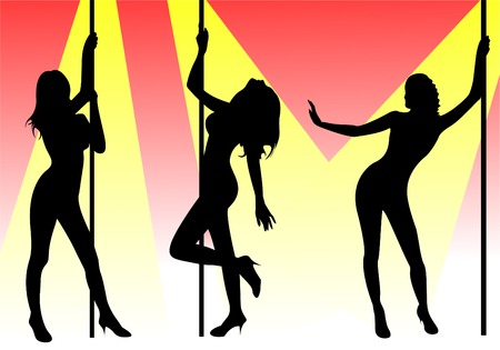 female stripper: Pole dancers Illustration