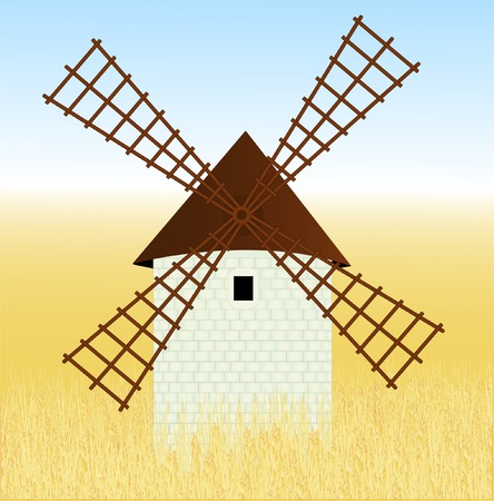 millet: Wheaten field with a mill Illustration
