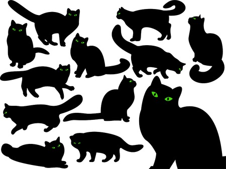green eyes: Cats silhouettes with green eyes Illustration