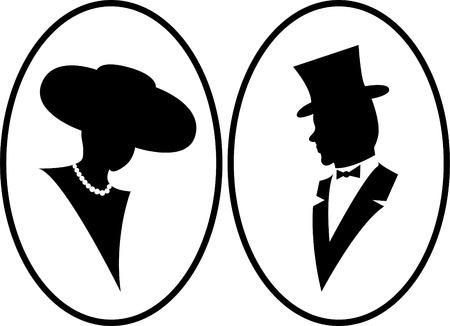 caballeros: Dama y caballeros  Vectores