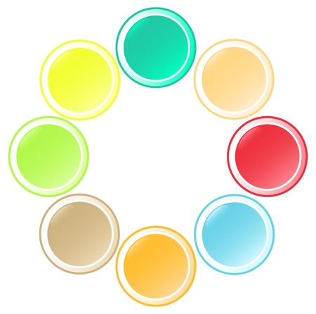 Set of  beautiful round buttons in unusual colors Vector
