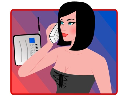 Woman with phone in a hand Vector