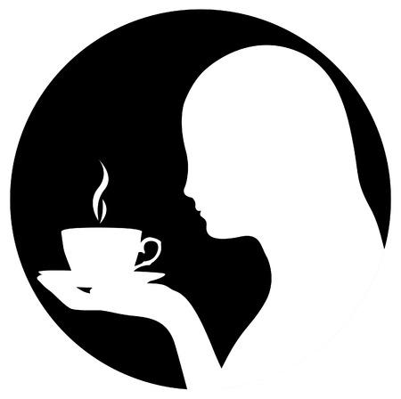 donna che beve il caff�: Silhouette di donna che beve caff�