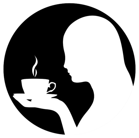woman drinking tea: Silhouette of woman drinking coffee Illustration