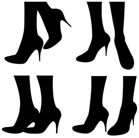 piernas de mujer: Mujeres piernas en zapatos  Vectores