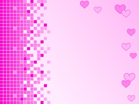 Pink background with pixels and hearts Vector
