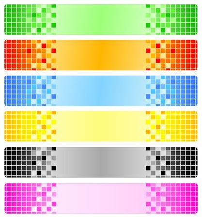 ornaments vector: Sei astratto striscioni con pixel