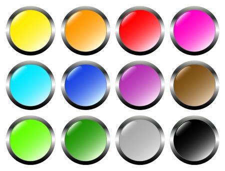Set of metal glass buttons Vector
