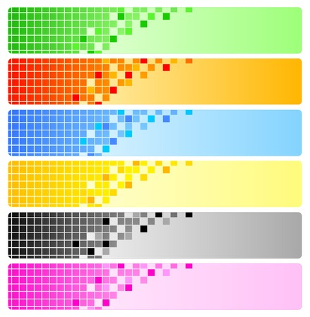 vector banners: Six abstract banners with pixels. Vector