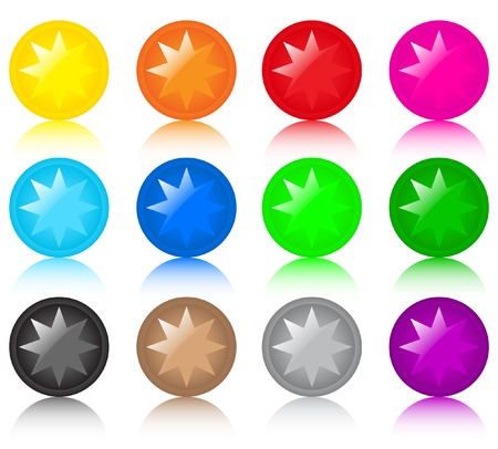 Set of glass coloured buttons with stars Vector