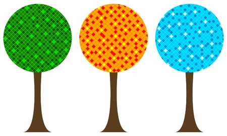 Summerspring, autumn and winter trees Vector