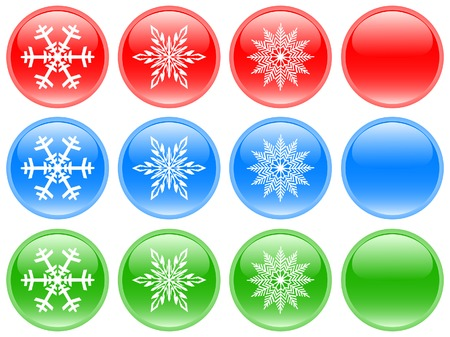 Glass buttons with snowflakes Vector