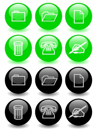 Set of glossy icons Vector