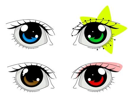 anime: Anime ojos puestos Vectores