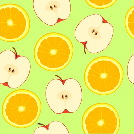 Apple and orange, seamless pattern Vector