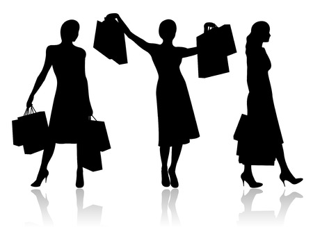 woman shopping bags: Woman with shopping bags