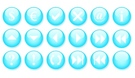 Blue buttons, icon set Stock Vector - 4315553