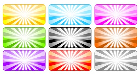 Colored buttons with rays Vector