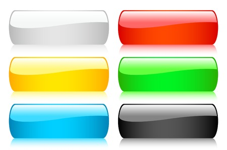 Set of 6 shiny buttons Vector