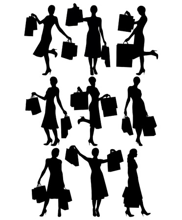 Women with shopping bags Vector
