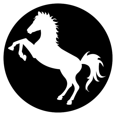 caballo saltando: Caballo negro silueta en círculo