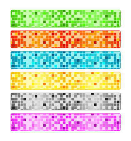 Six abstract pixel banners Vector